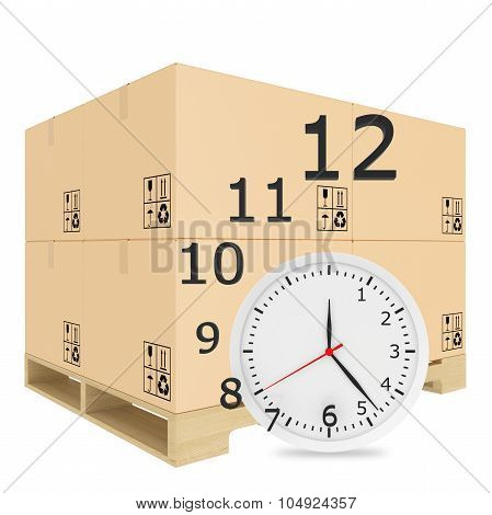 Paper covered boxes on wooden pallet. Watch with flying off figures