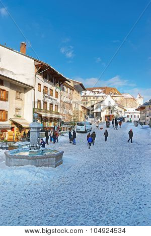 Winter View Of The Main Street In The Swiss Village Gruyeres, Switzerland