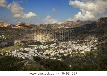 Beautiful view of the mountains and Danakos village on Naxos island, Greece