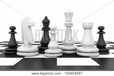 Chessmen stand on chessboard