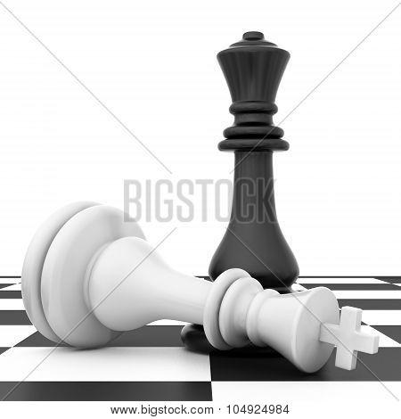 The fallen chess piece lying on chessboard