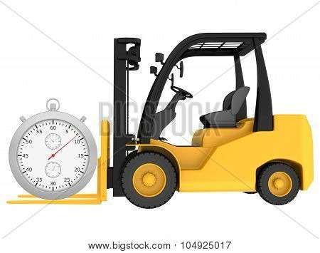 Forklift truck with a stopwatch isolated on white background