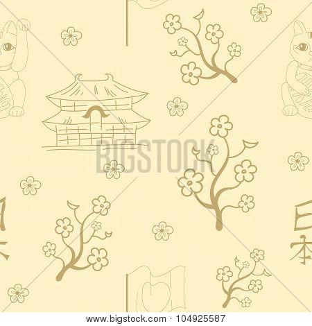 Seamless Japanese symbols  background