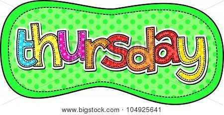 Thursday Stitch Text Label