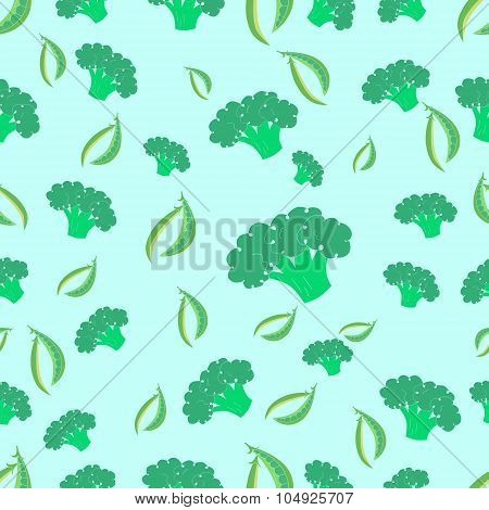 Seamless pattern broccoli and peas vector
