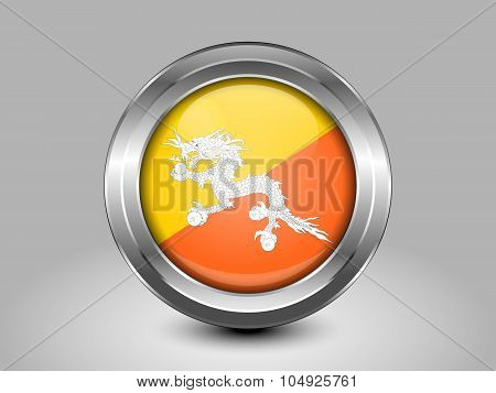 Bhutan Variant First Flag. Metal Round Icon