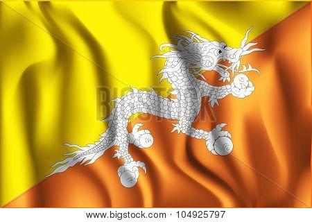 Flag Of Bhutan. Rectangular Shape Icon