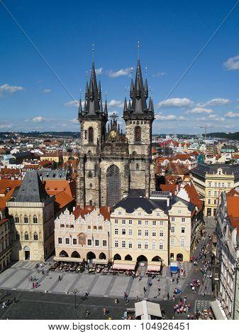View of the Tyn Church in Prague, Czech Republic