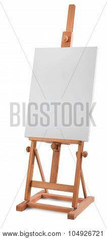 White Painter Canvas On Wooden Easel