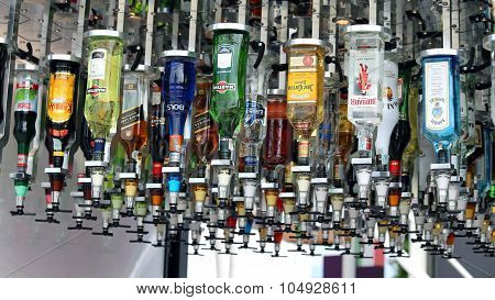 Milan, Italy - 8Th September, 2015. Expo Milan 2015. Vending Machines Bottles Of Spirits In A Futuri