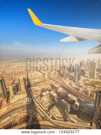 Cityscape Of Dubai From Aeroplane Window