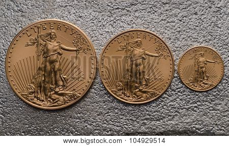 American Gold Eagle Coins (small, Medium Large) On Silver Bar