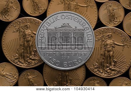 Austrian Silver Philharmonic On Bed Of Us Gold Eagles