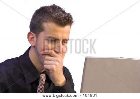 Business Thoughts In Front Of Laptop