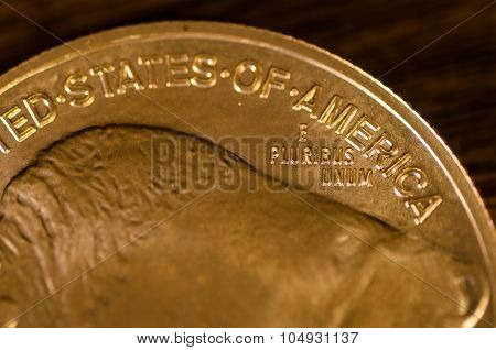 E Pluribus Unum (words) On Us Gold Buffalo Coin