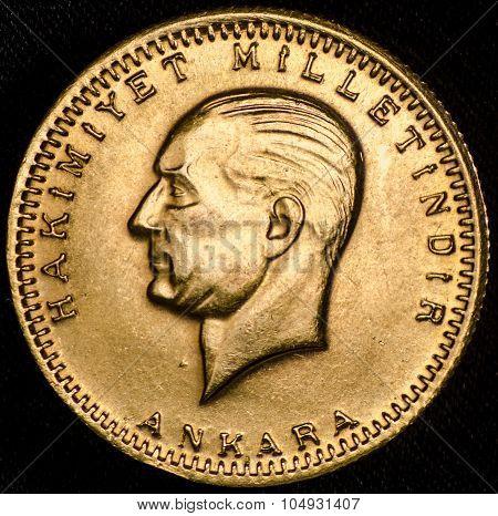 Kurush Ataturk Turkish Gold Coin (obverse)
