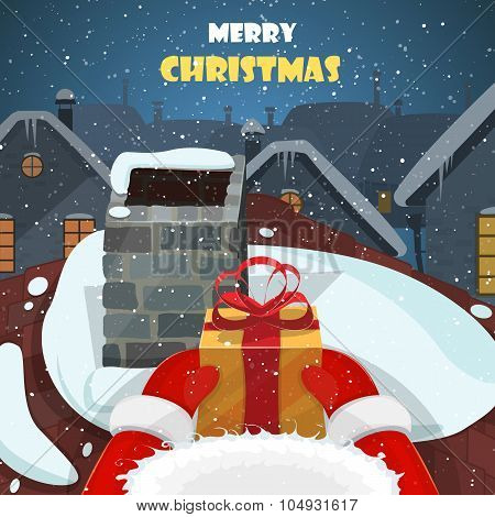 Merry Christmas postcard vector illustration.