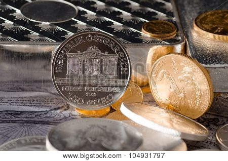 Silver Coin Austrian Philharmonic With Gold Coins & Bars