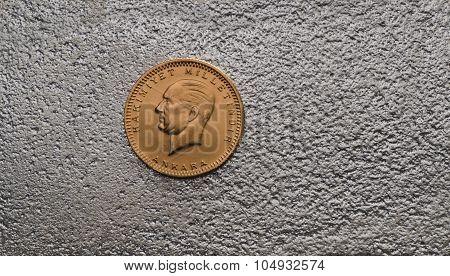 Turkish Kurush Ataturk Gold Coin On Top Of Silver Bar