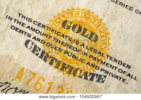 United States Gold Currency Note (certificate)