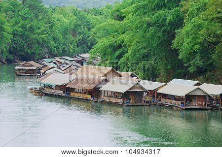 View to the traditional thai village at the river bank in Suphan Buri, Thailand.