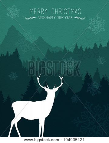 Merry Christmas Happy New Year Deer Holiday Card