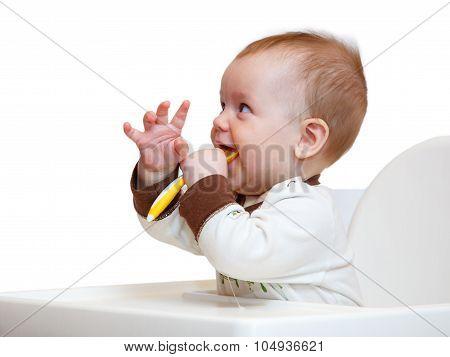 Funny Little Boy Has Dinner