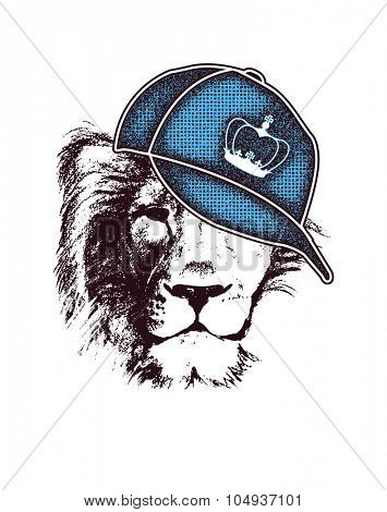 Lion head. Hand drawn. Grunge vector illustration (two compound paths, two colors)