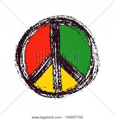 Peace symbol drawing. Hand drawn. Vector illustration