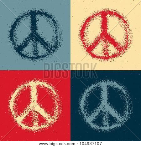 Peace symbol drawing. Hand drawn. Vector illustration