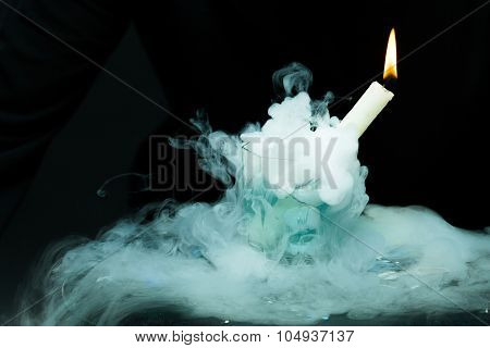 White Candle In Smoke