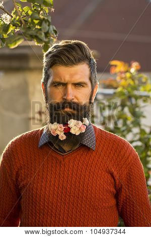 Man With Flowers On Beard