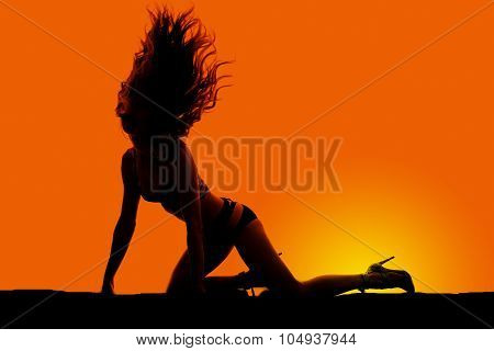Silhouette Woman In Bikini On Knees And Hands Hair Flipped Up