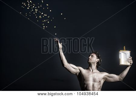 Young Muscular Mna With Cereal