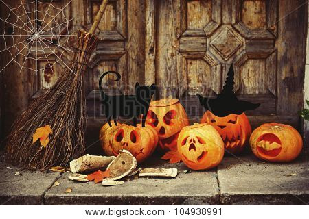 Halloween composition with vector images