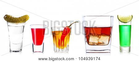 Different drinks, isolated on white