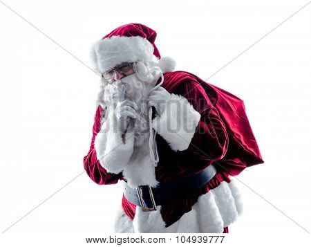 one santa claus man Hushing silhouette isolated on white background