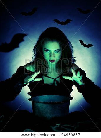 Witch on dark background with vector images
