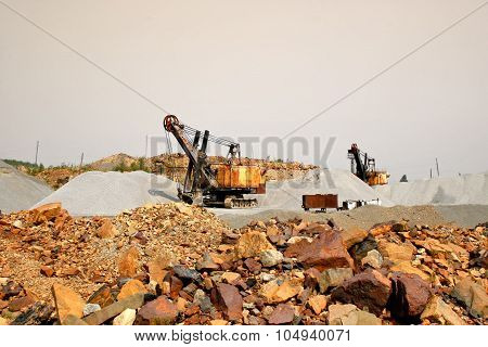 Excavators In A Quarry