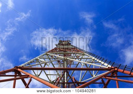 bottom view of a telecommunications tower