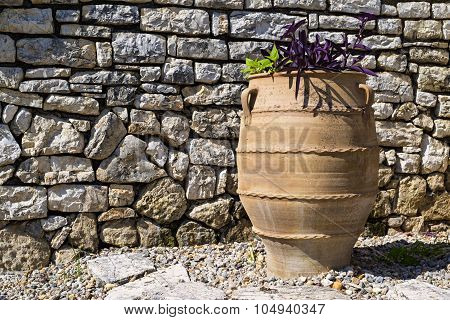 One Big Ceramic Flowerpot Of Ancient Greek Style
