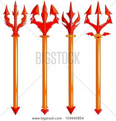 Red Trident Set Isolated On White Background