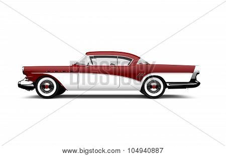 Retro Red And White Car