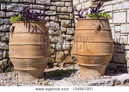 Two Big Ceramic Flowerpot Of Ancient Greek Style