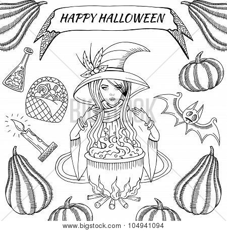 Black Graphic Witchcraft Objects Set: Witch, Cauldron With Magic Potion, Bat, Pumpkins, Candy,Candle