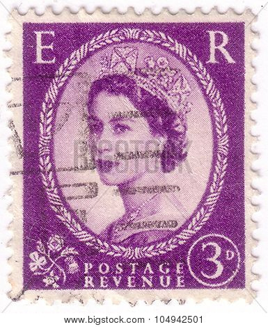 United Kingdom - Circa 1952: A Postage Stamp Printed In Great Britain Showing A Portrait Of Queen El