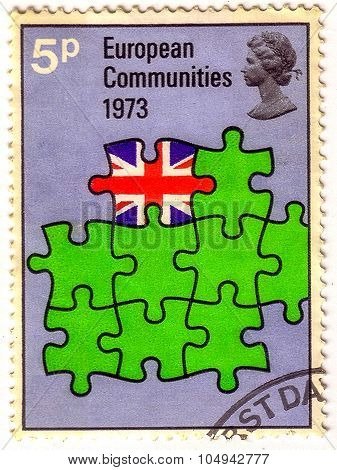 United Kingdom - Circa 1973: A Stamp Printed In The United Kingdom Shows Britain As Part Of European