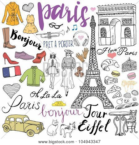 Paris Doodles Elements. Hand Drawn Set With Eiffel Tower Bred Cafe, Taxi Triumf Arch, Fashion Elemen