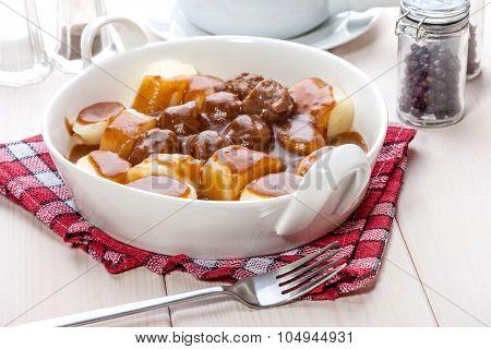 Potato Dumplings With Meat Meatballs.