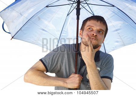 Puzzled Funny Man With Umbrella
